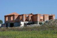 Maison d'habitation en brique de terre cuite R37 à la fin de la construction - Saint Lager Bressac (Ardèche) en 2006